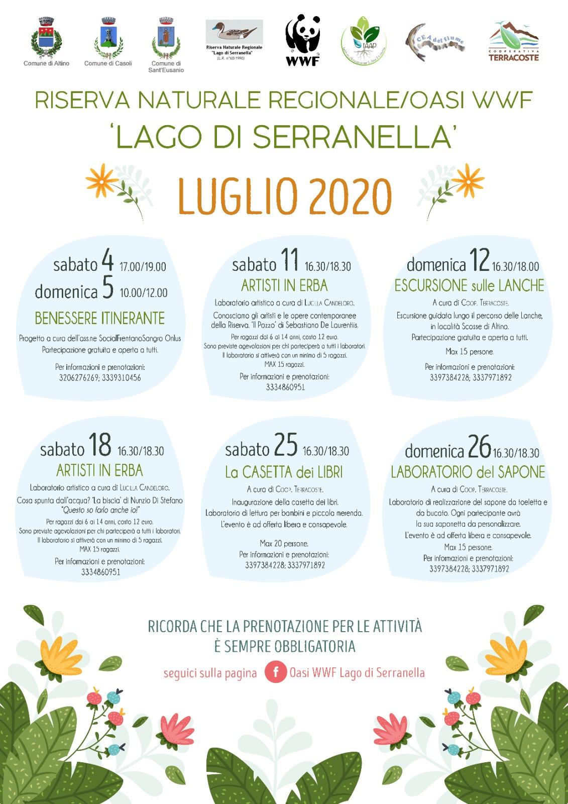 Oasi Serranella locandina attività luglio 2020