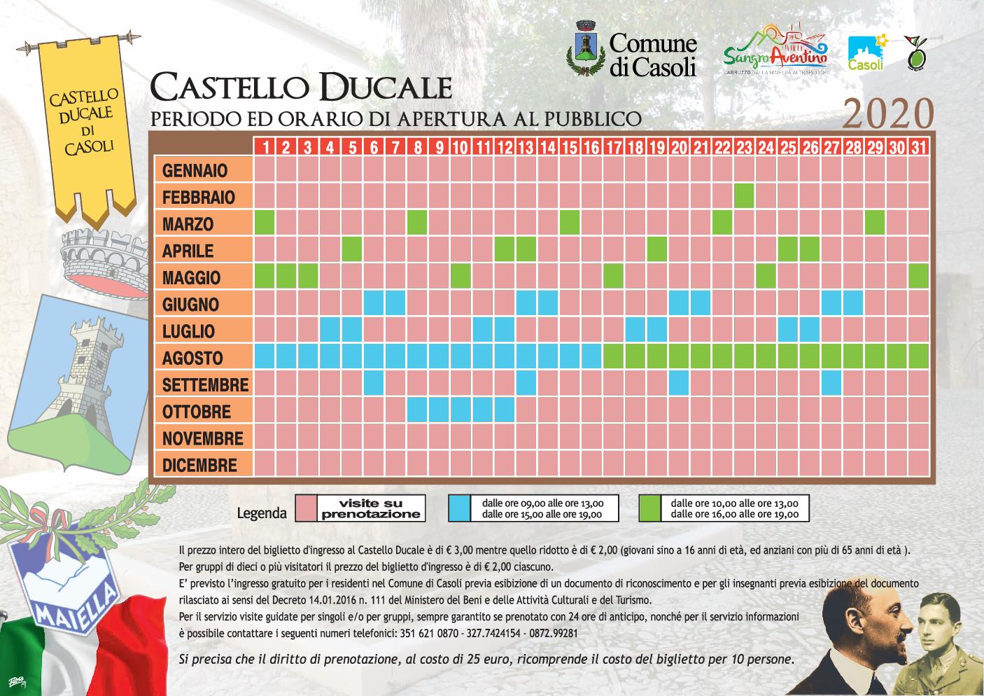 ORARI CASTELLO DUCALE 2020