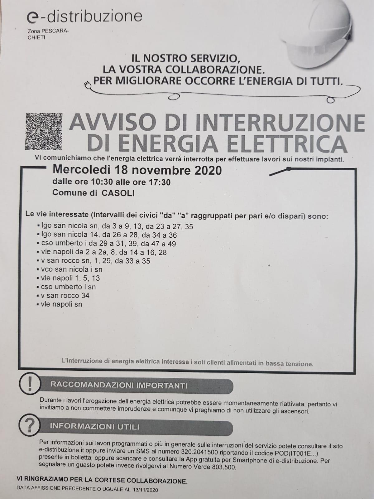 Interruzione energia elettrica nel giorno 18 novembre