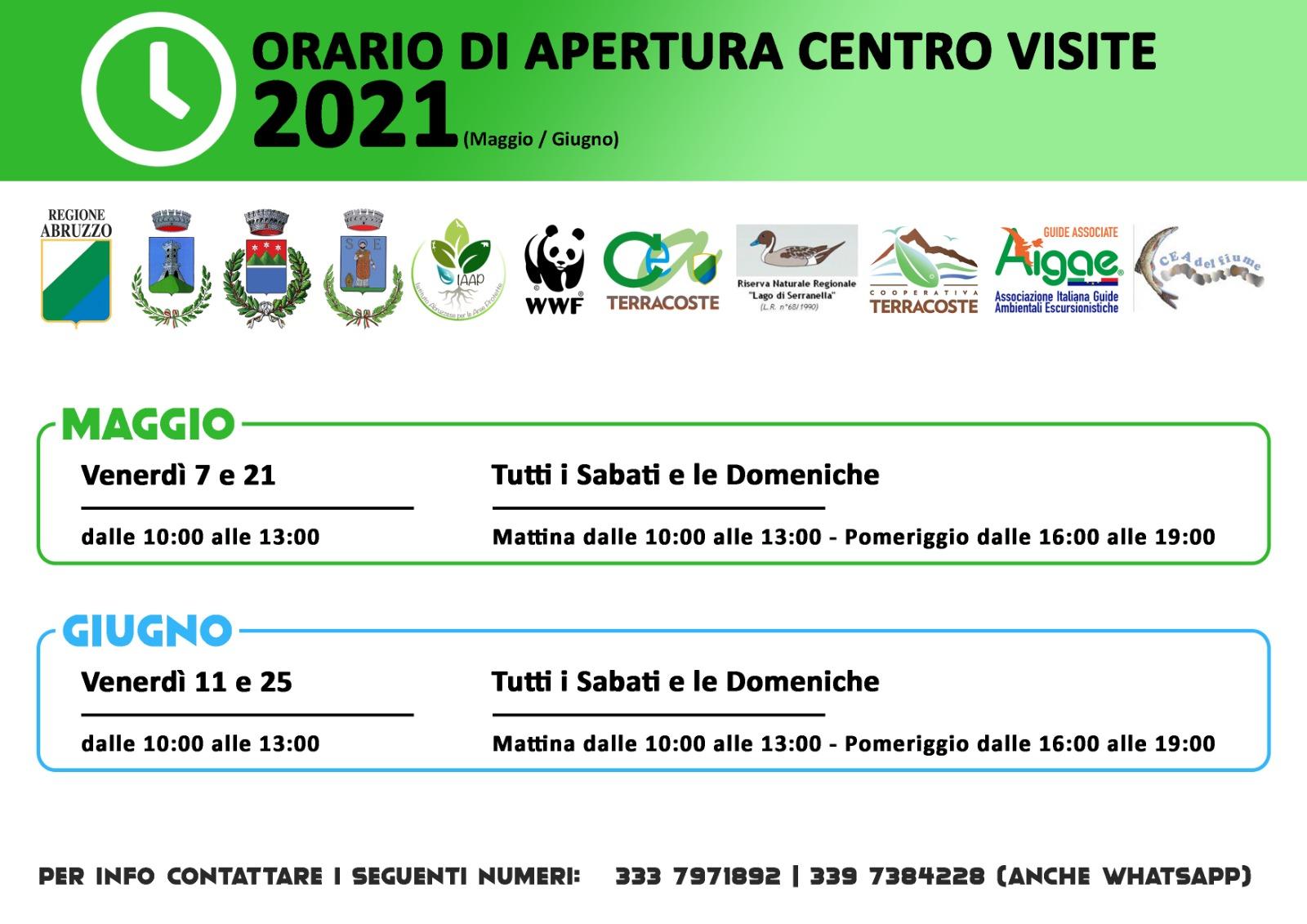 Orari Oasi di Serranella - Maggio e Giugno 2021
