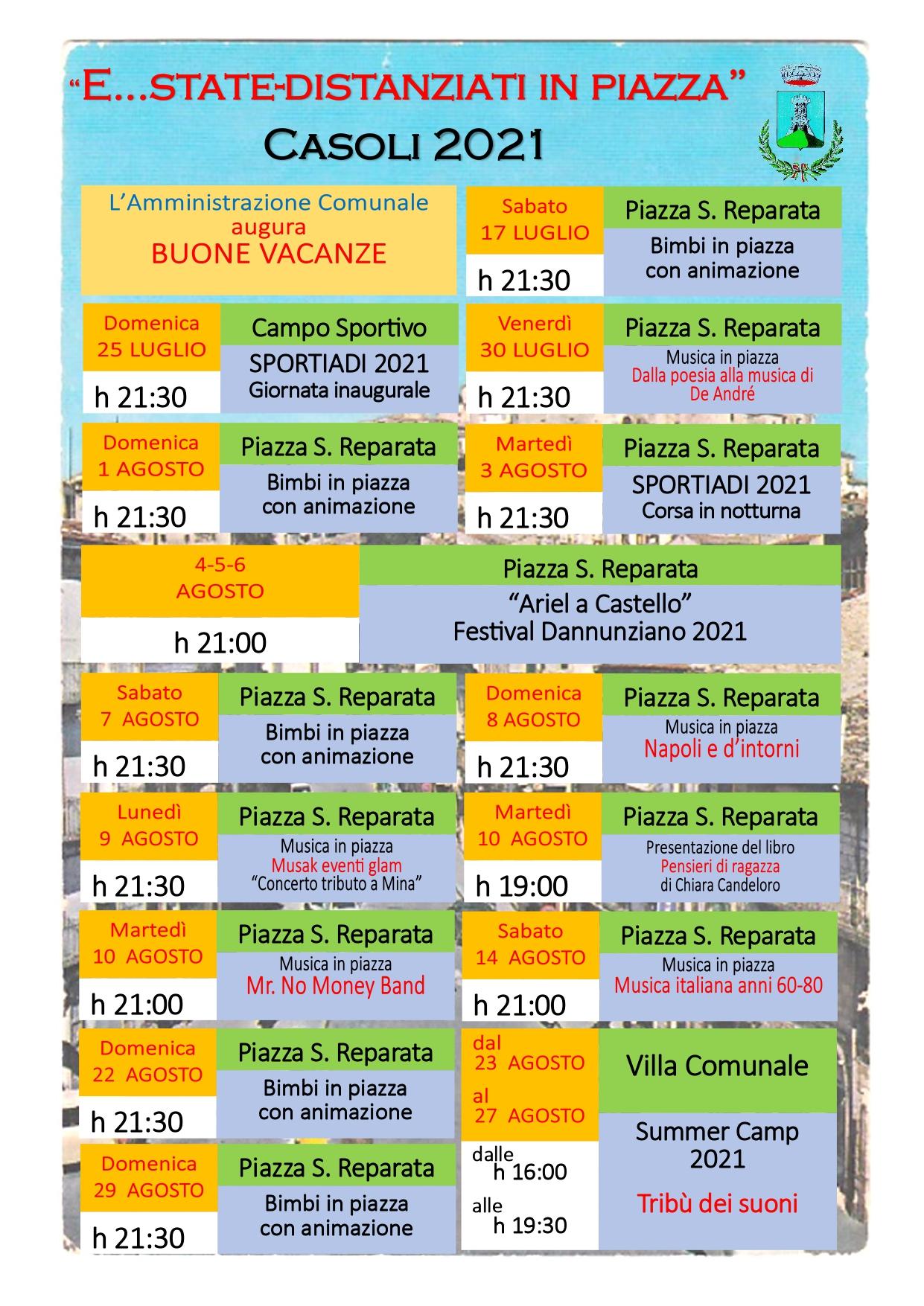 Locandina eventi estivi 2021 Casoli