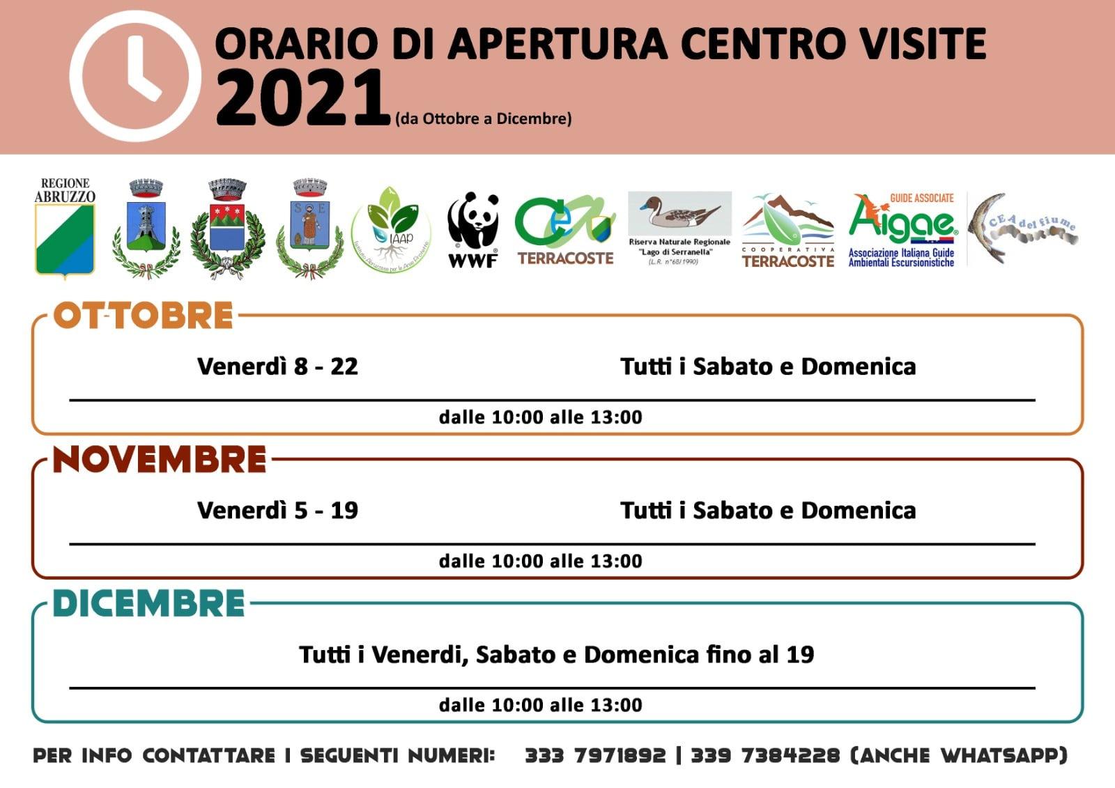 Orari di aperture centro visite Oasi Serranella Ottobre-Dicembre 2021